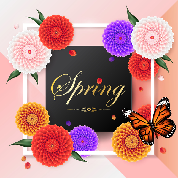Spring frame with butterfly vector 01