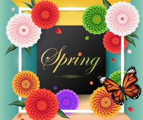 Spring frame with butterfly vector 02