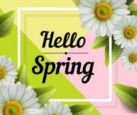 Spring frame with white flower vector