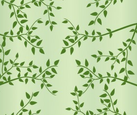 Spring green leaves vector pattern 02