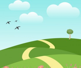 Spring natural with green vector background 01