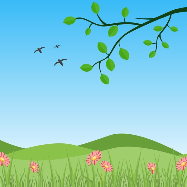 Spring natural with green vector background 02