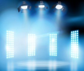 Stage lighting and spotlights vector background