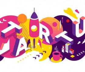 Startup 3d business words illustration vector