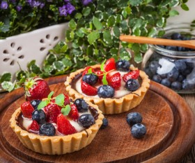 Strawberry and blueberry decorated fruit tart Stock Photo 03