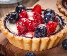 Strawberry and blueberry decorated fruit tart Stock Photo 06