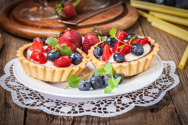 Strawberry and blueberry decorated fruit tart Stock Photo 07