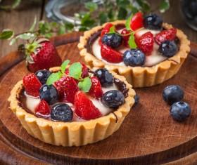 Strawberry and blueberry decorated fruit tart Stock Photo 08