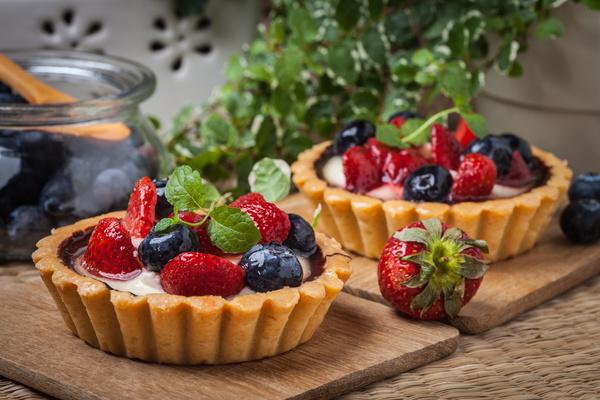 Strawberry and blueberry decorated fruit tart Stock Photo 12