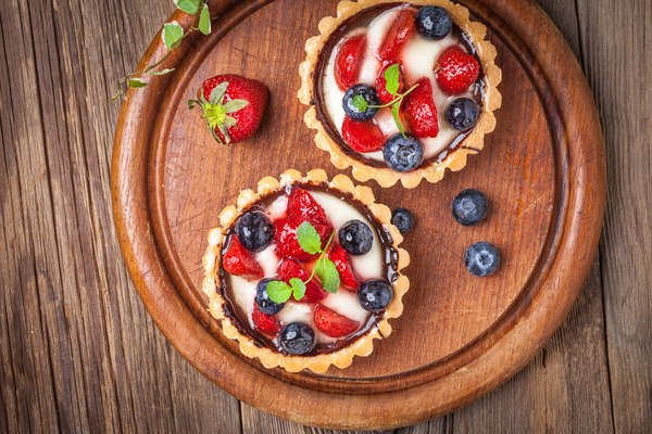 Strawberry and blueberry decorated fruit tart Stock Photo 15