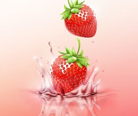 Strawberry juice splash vector