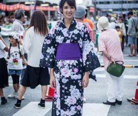 Street beat Japan wears kimono girl Stock Photo
