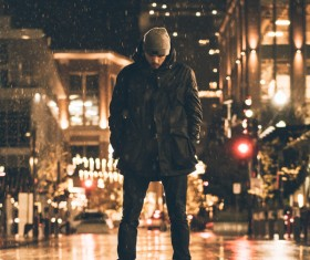 Stylish man posing in cold weather Stock Photo