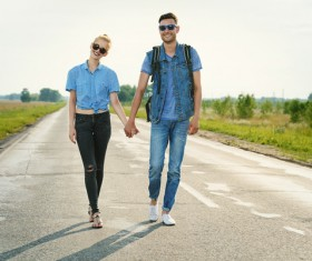 Stylish young couple outing Stock Photo 02
