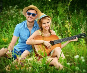 Stylish young couple outing Stock Photo 05