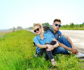 Stylish young couple outing Stock Photo 06