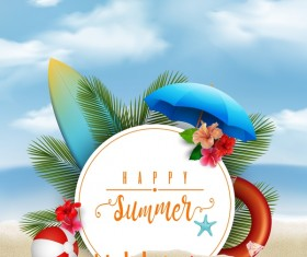 Summer beach background vectors design 01