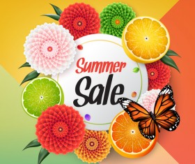 Summer fruit circle card vector