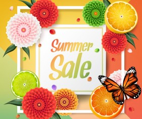 Summer fruit frame sale vector