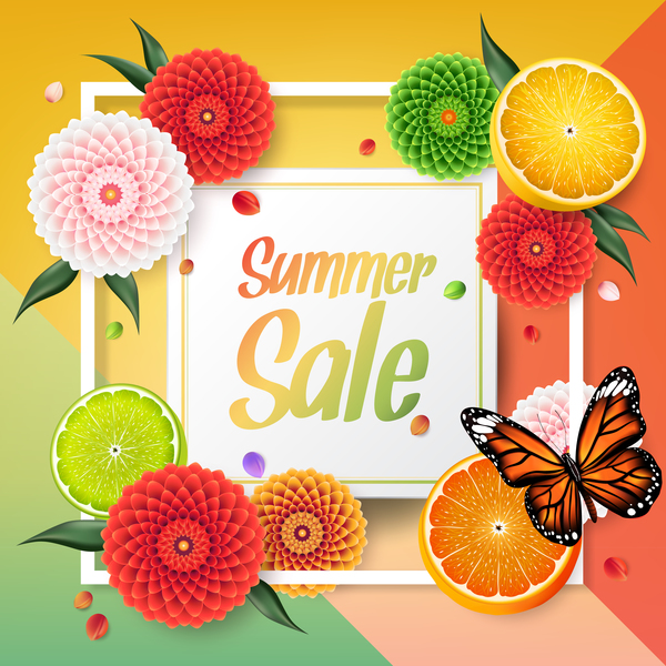 Summer fruit frame sale vector