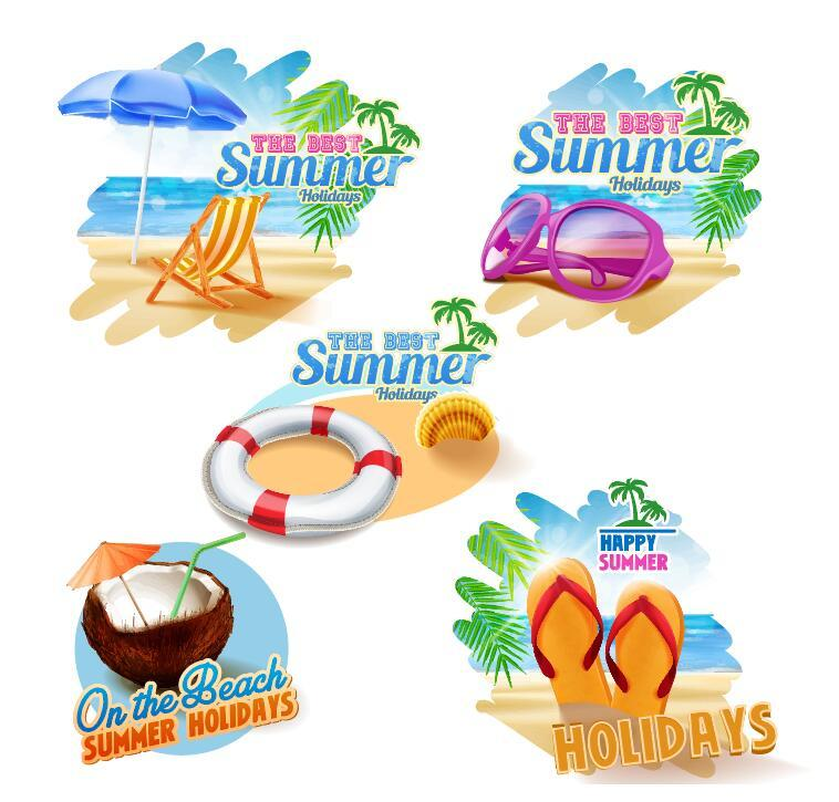 Summer holiday beach labels vectors material