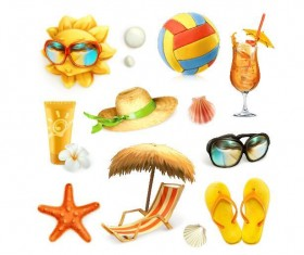 Summer holiday beach travel elements vector 02