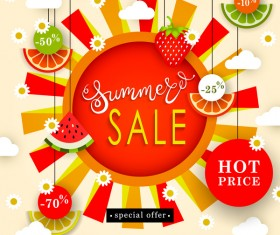 Summer hot price sale poster vector
