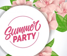 Summer party flyer with ping flower vector