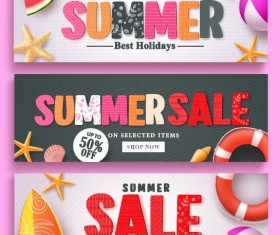 Summer sale banner design vectors set 03