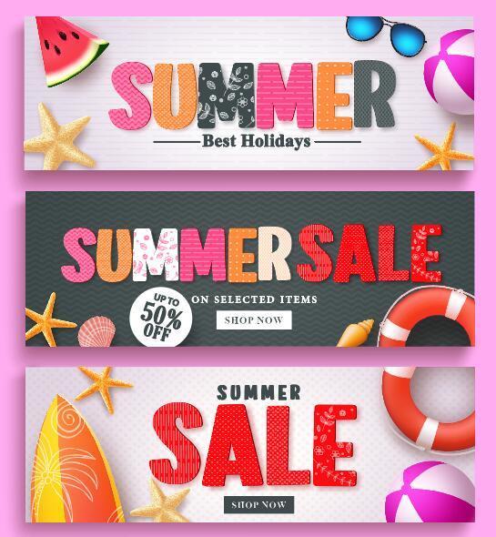 Summer sale banner design vectors set 03