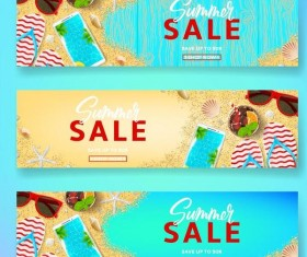 Summer sale banner design vectors set 04