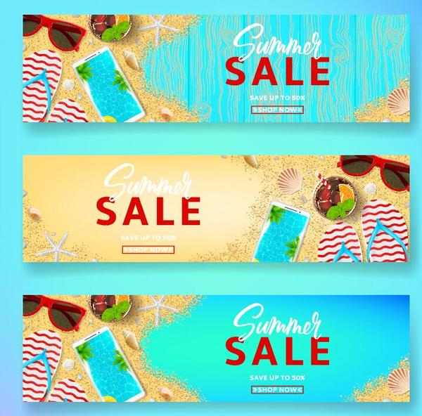 Summer sale banner design vectors set 04