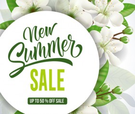 Summer sale card with flower vector 01