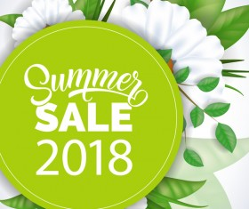 Summer sale card with flower vector 02