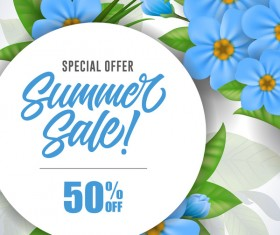 Summer sale card with flower vector 04
