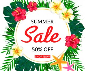 Summer sale concept background with tropical flowers vector 01