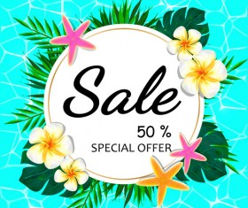 Summer sale concept background with tropical flowers vector 02