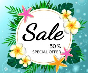 Summer sale concept background with tropical flowers vector 03