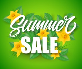 Summer sale green background vectors