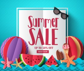 Summer sale shop new background vector