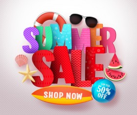Summer sale with beach holiday vector