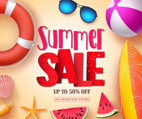 Summer sale with discount background vector