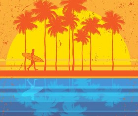 Sunset with beach vector background