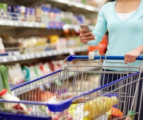 Supermarket woman buying food Stock Photo 05
