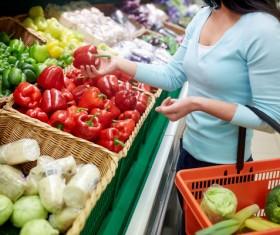 Supermarket woman buying food Stock Photo 06