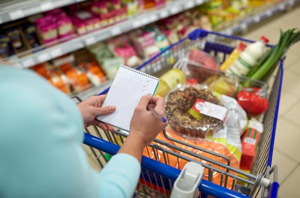 Supermarket woman buying food Stock Photo 07