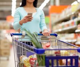Supermarket woman buying food Stock Photo 09