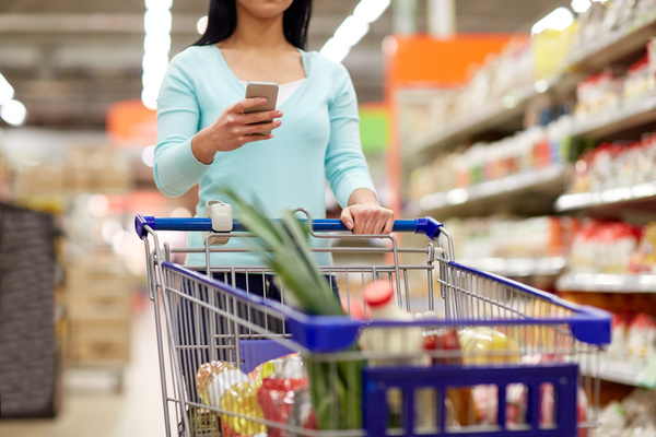 Supermarket woman buying food Stock Photo 09