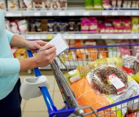 Supermarket woman buying food Stock Photo 10