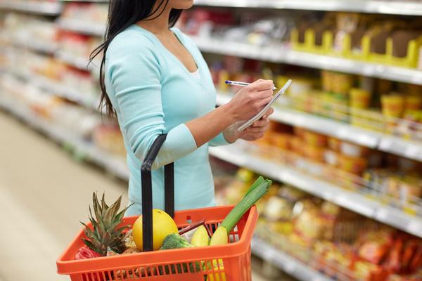 Supermarket woman buying food Stock Photo 11